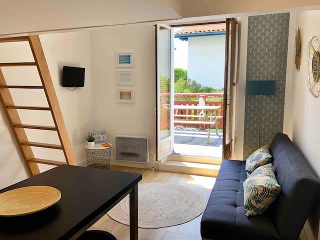 Studio 2 personnes avec balcon-Côte des basques