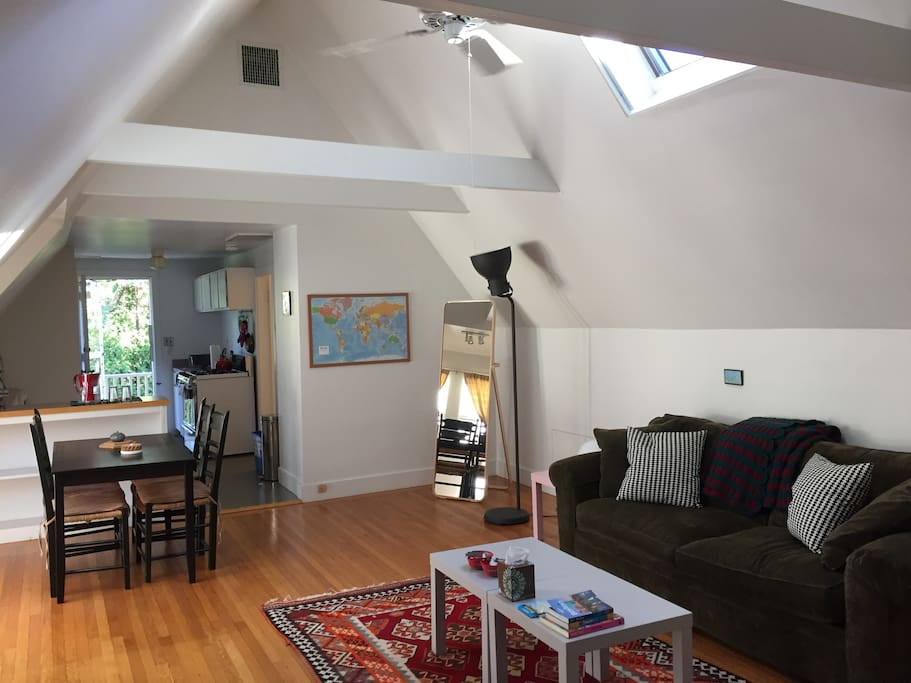 """The place is clean and quiet, with a spacious and open floor plan. Lots of great light from the skylights. Perfectly located!"" -Sophia and Tom, April 2016"