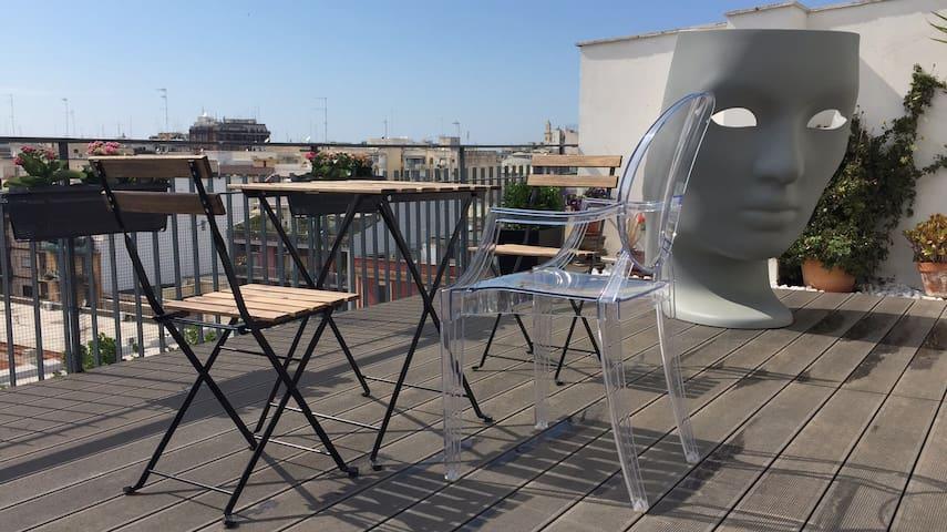 Luxury rooftop terrace apartment city center Bari