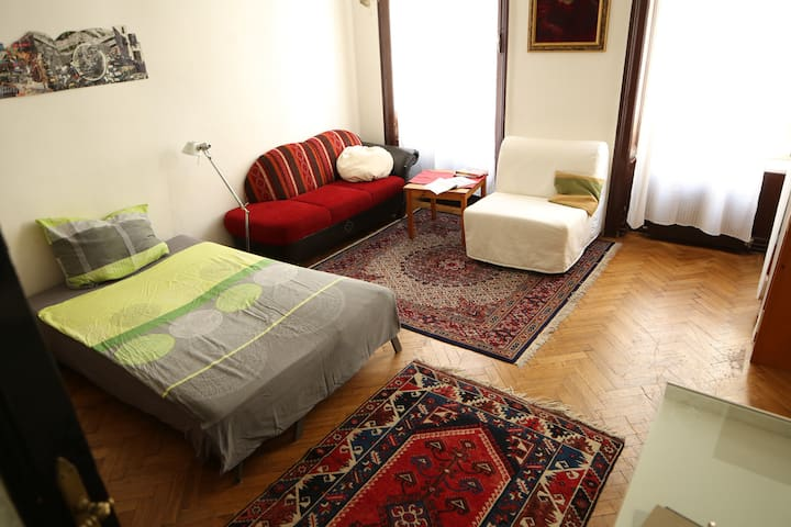 Arty flair,spacious room,10 min from the Center