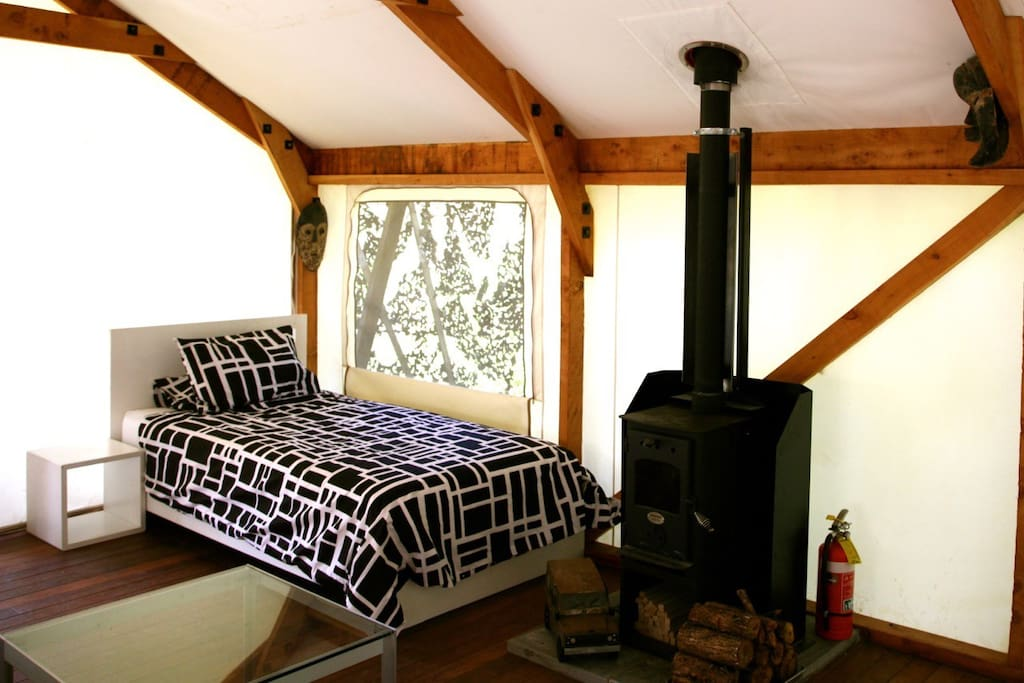 King single bed and Wood Burner