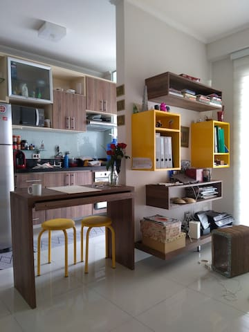 Kitchen and Living room.
