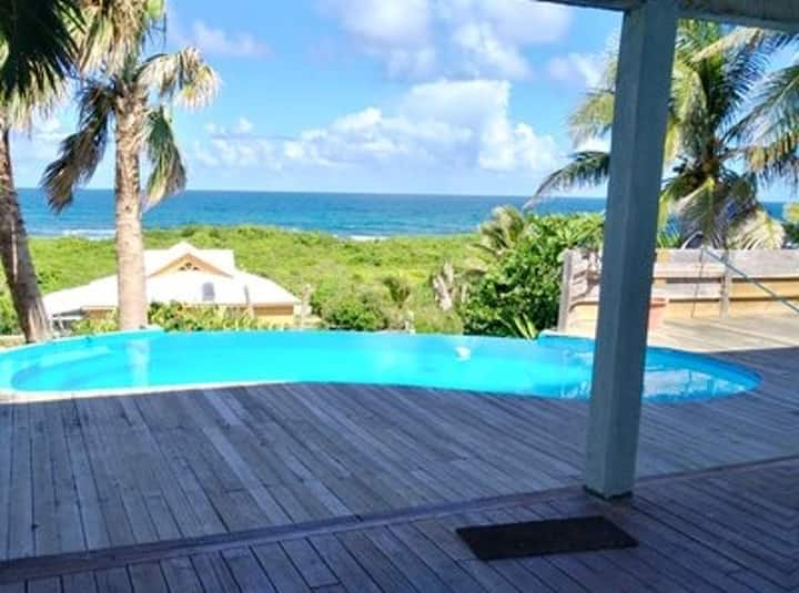 Villa with 4 bedrooms in Moule, with wonderful sea view, private pool, enclosed garden - 50 m from the beach