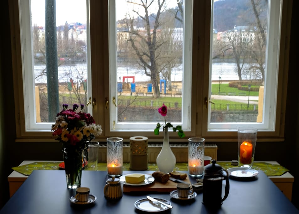 The most beautiful breakfast table view in Prague?