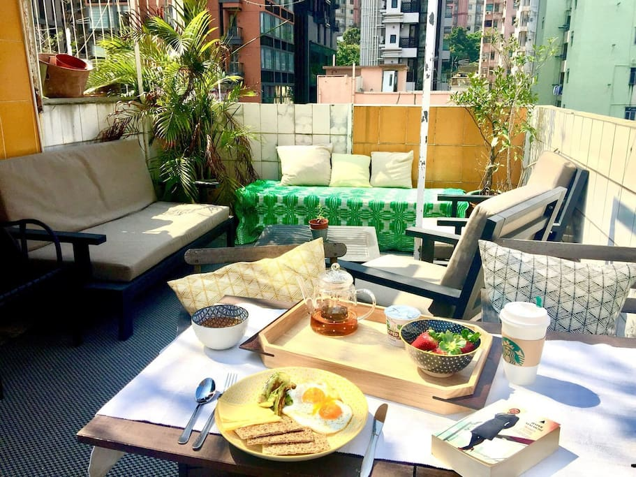 Nice brunch on the rooftop