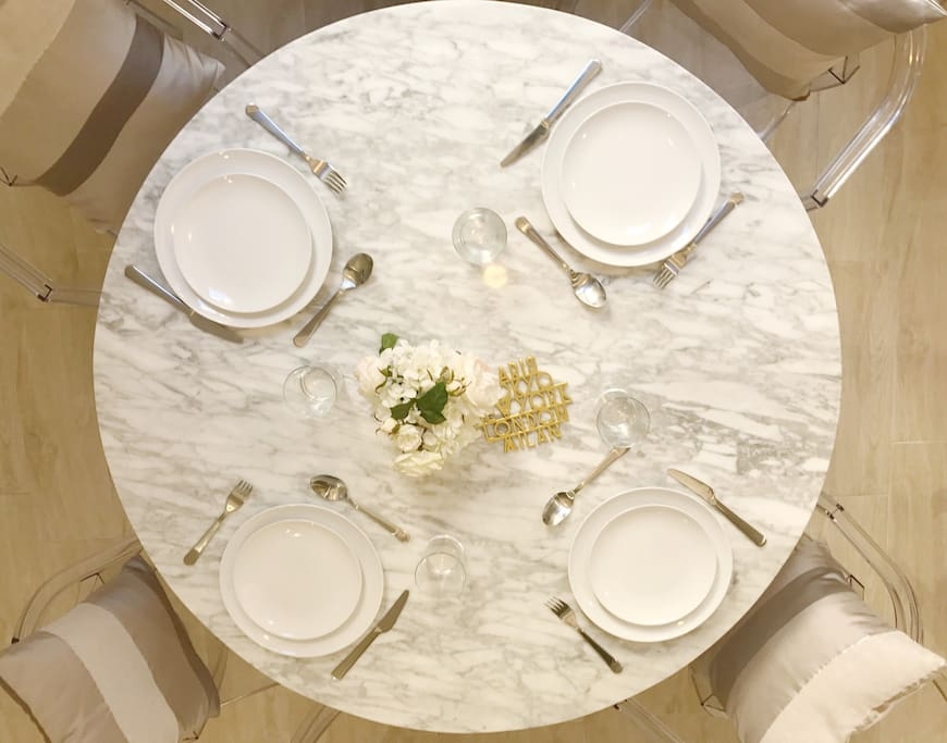 Beautiful marble table to welcome