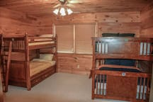 downstairs bedroom with two bunkbeds