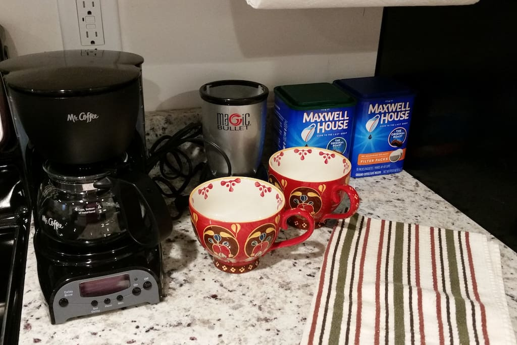 Coffee maker with regular and decaf coffee. There is even a Nutri bullet!