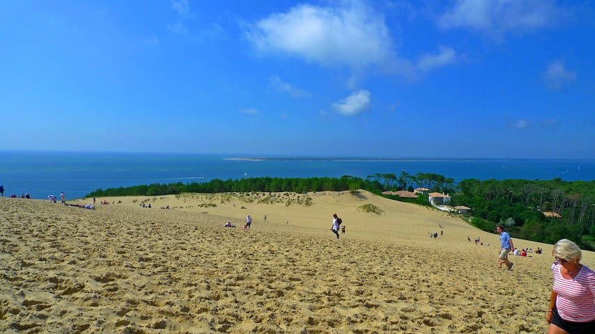 Le spectacle de la dune du Pilat, une fois gravie, l'océan et les passes du Bassin d'Arcachon et le Cap-ferret au loin.