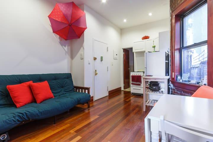 Spacious living room plus kitchen.