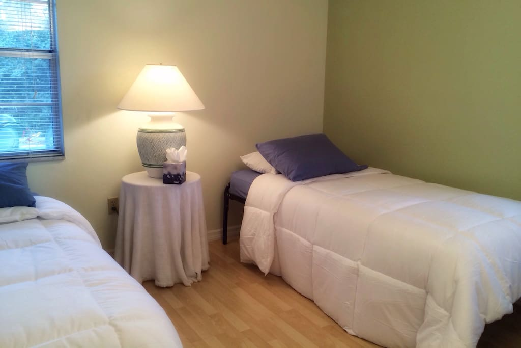 Layout #2 / Two twin beds -- We'll make sure you and your roommate each have a comfy twin bed on either side of the room.
