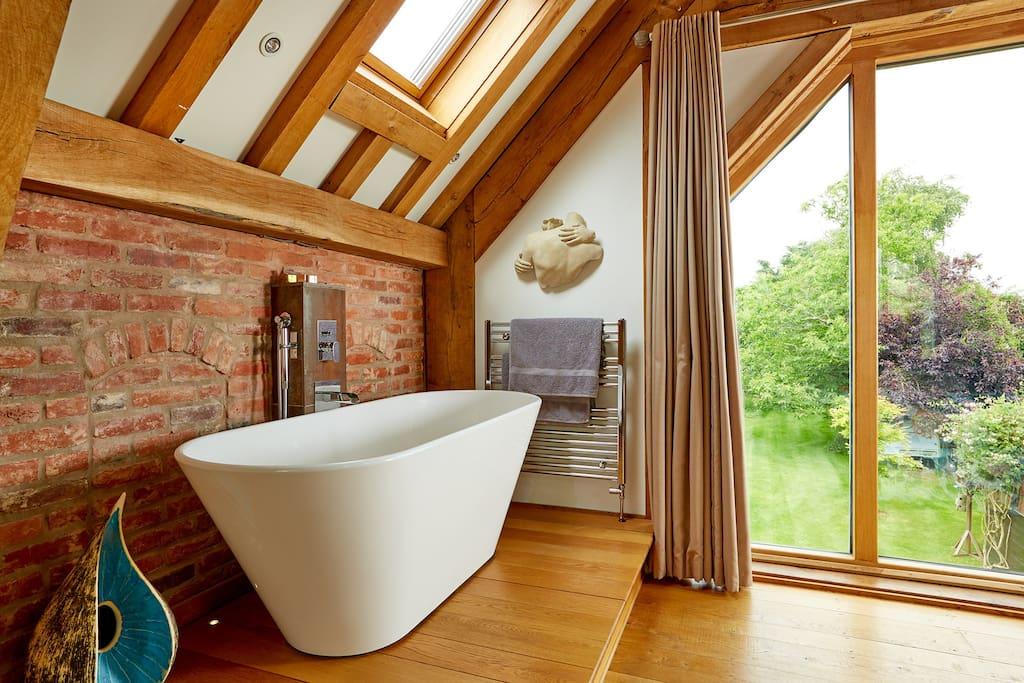 Bath within barn bedroom