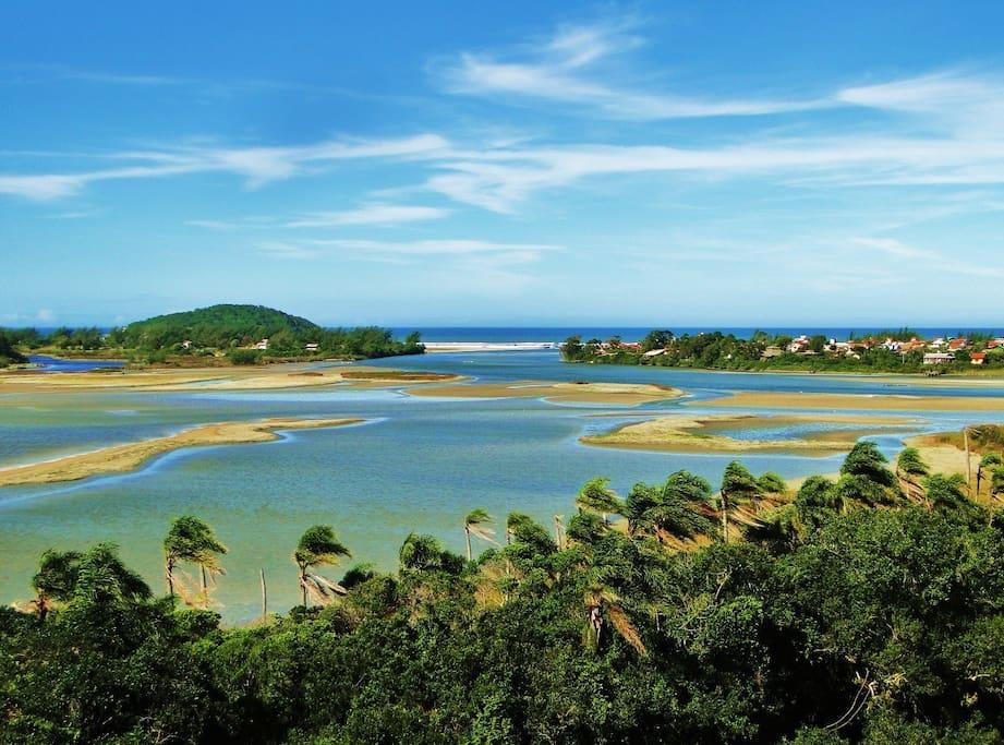 lagoa de Ibiraquera e acesso ao mar