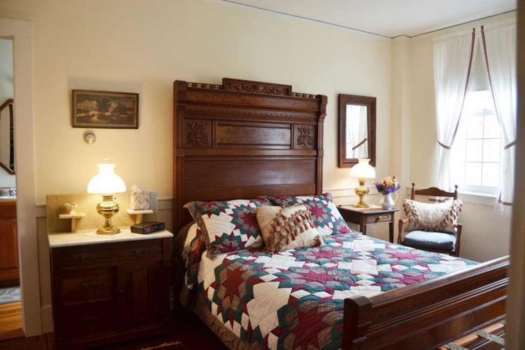 Enjoy a peaceful rest in this lovely appointed room featuring a full-sized bed and private bath.