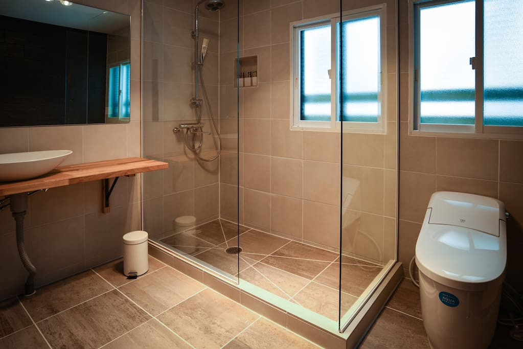 Newly renovated shared bathrooms at Sheltered Inn