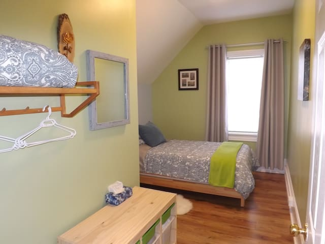Bed can be set up as a twin bed (as shown) or converted into 2 twin beds