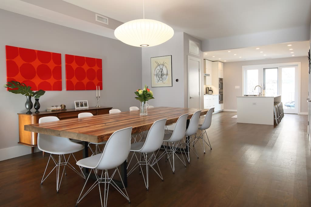 Dining table made from beams salvaged during massive renovation of the townhouse.