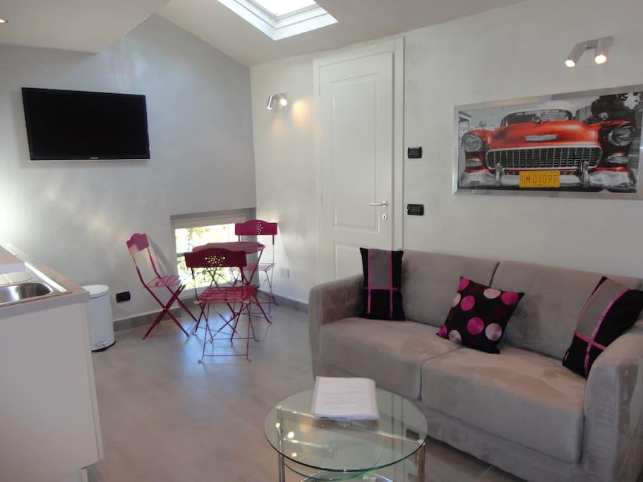 living room, cuisine ouverte