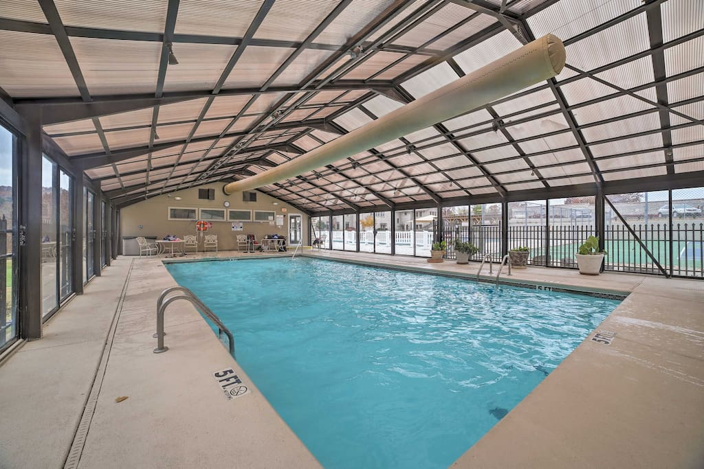 Take a dip in the indoor heated pool - no matter the season!