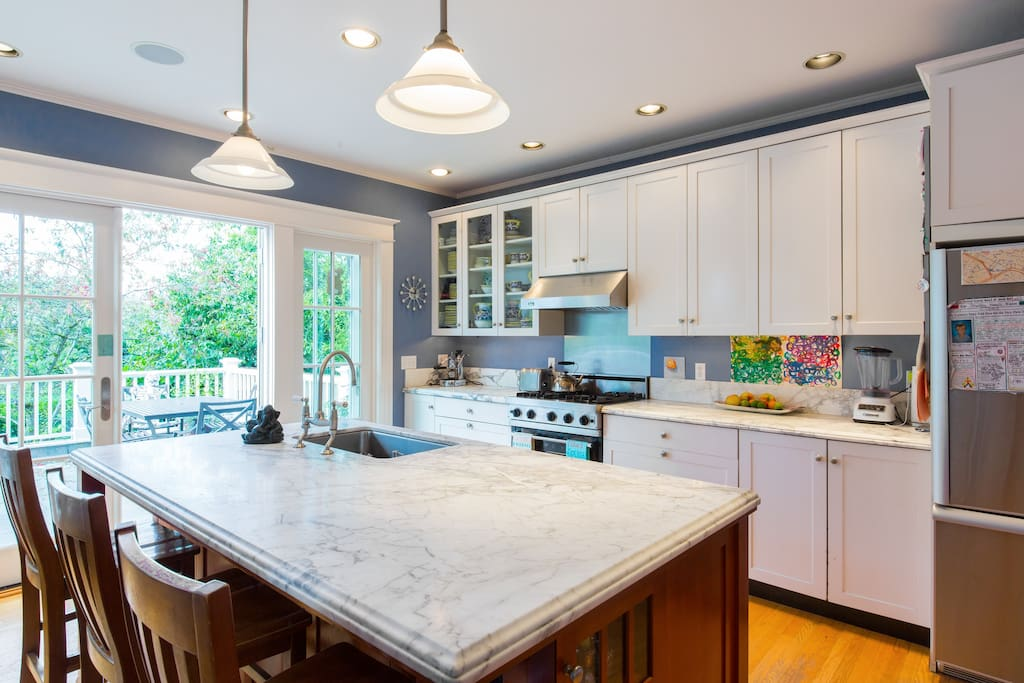 Chef's kitchen with Carrera marble counters and Viking stove