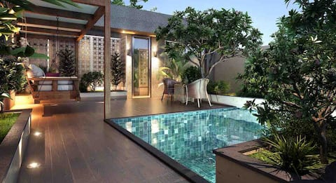 Luxury home with a private pool and garden....