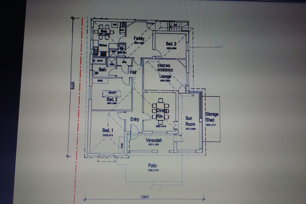 Stockton Beach House Floor Plan. 180sqm house has 4 bedrooms, 2 living rooms, 2 bathrooms, 2 dining spaces and 2 outdoor areas