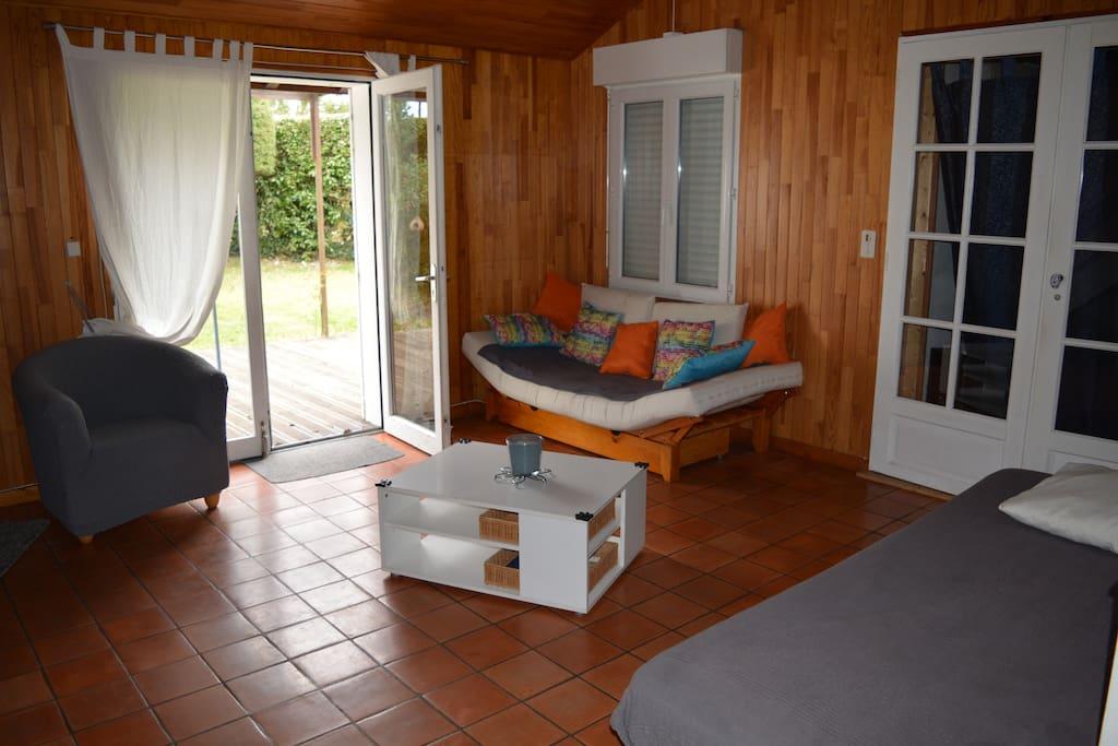 salon avec une banquette lit pouvant servir de lit 1 personne