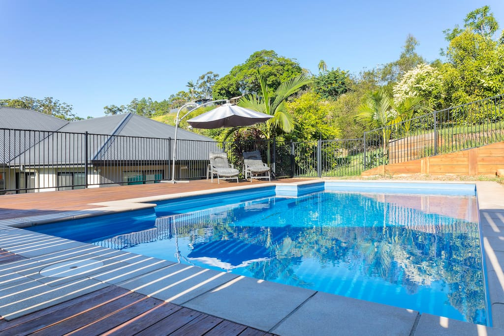 Swimming pool and huge garden