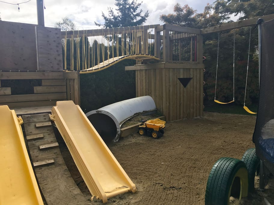Let the kids run and play on this custom playground and dig in the sand box. We have tonka trucks and sand toys on site for your little ones making it an easy vacation for you