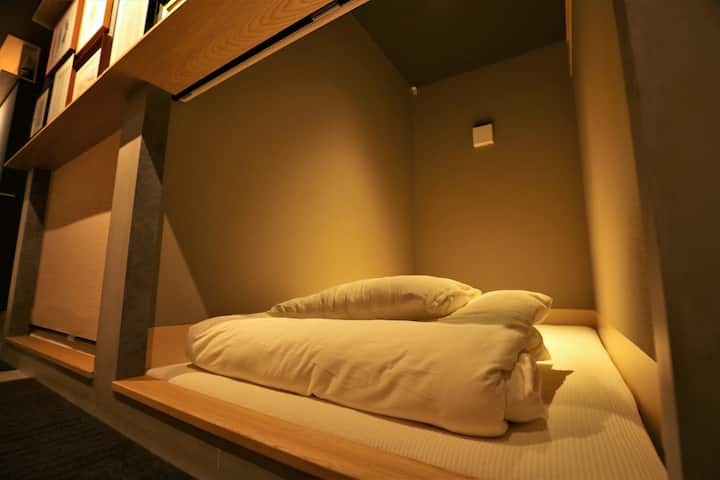 sky tree hostel. Dormitory capsule room.