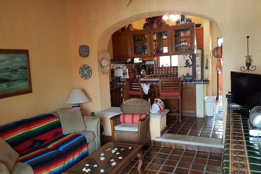 This is the living room, looking in from the patio towards the kitchen and small bar.