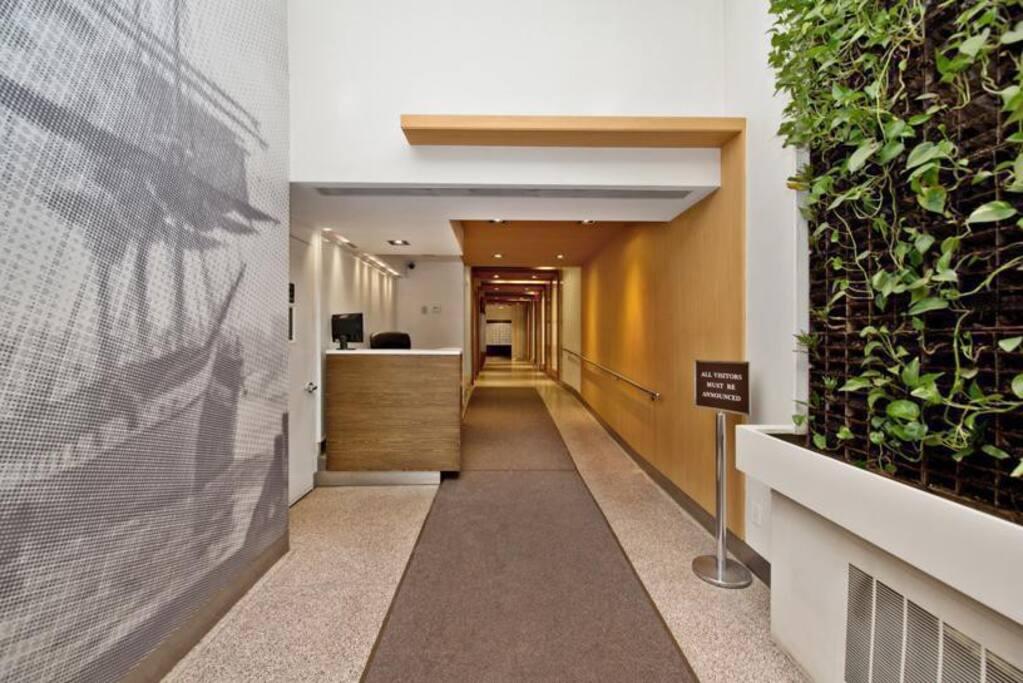 Entrance with 24 HR Doorman