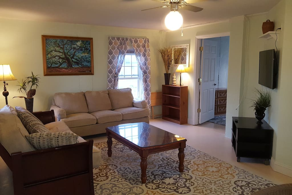 Spacious living room. Futon folds to a double bed. Couch is also comfortable to sleep on.