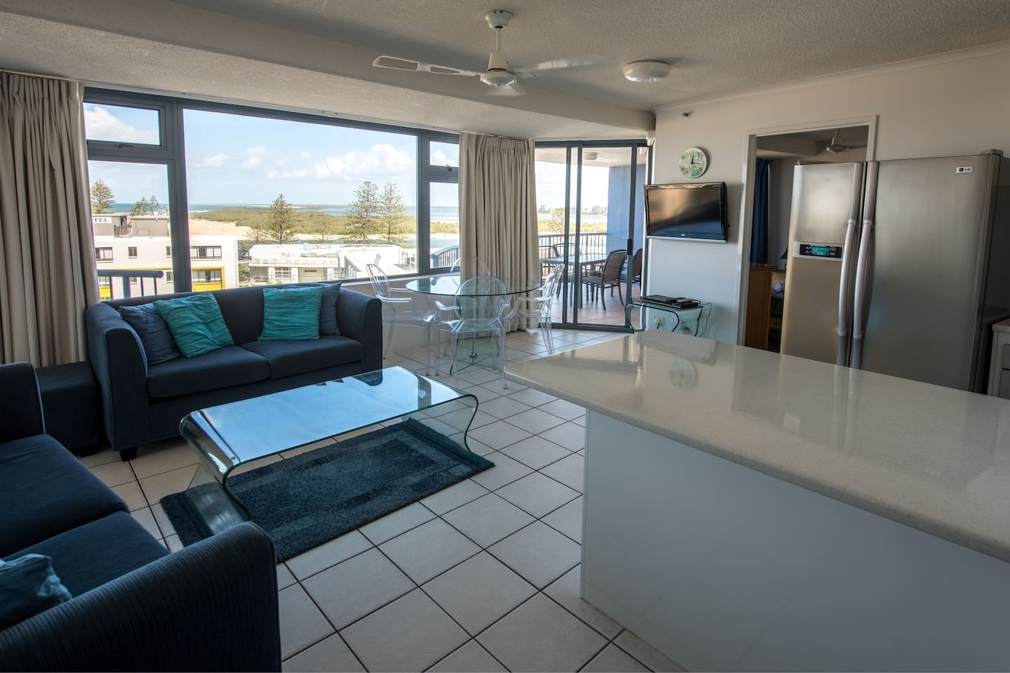 Ocean views from a stylish apartment right in town