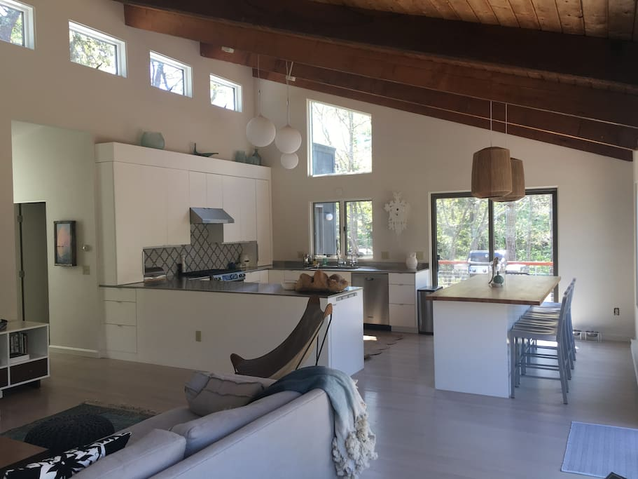 family room and kitchen opens to deck