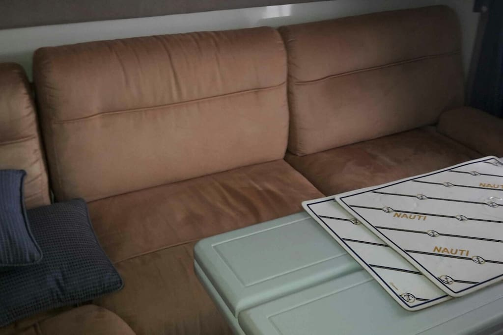Very comfortable sofa bed on a cabin cruiser boats for for Really comfortable sofa bed