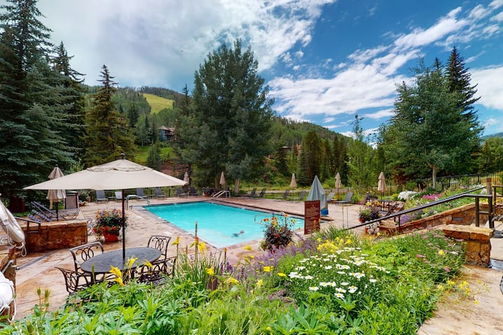 Ski-in/out, hotel-style condo with kitchenette, shared pool, & shared hot tubs!