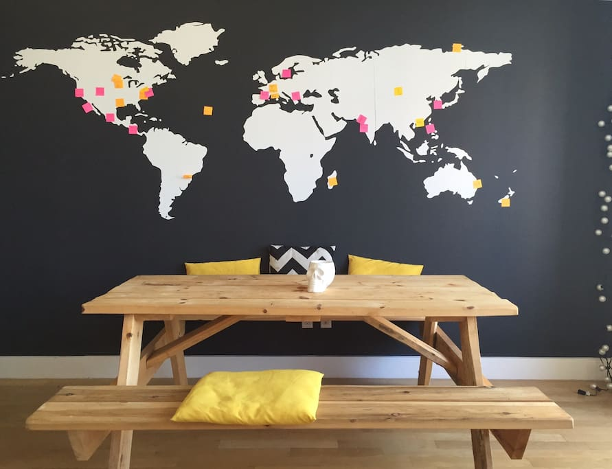 our famous picnic table and world map