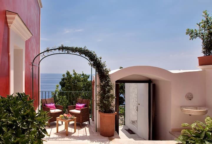 beautiful villa with indoor and outdoor pool and terraces overlooking the sea