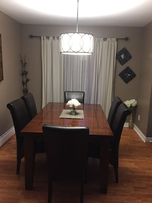 Dining room, large table and work space.