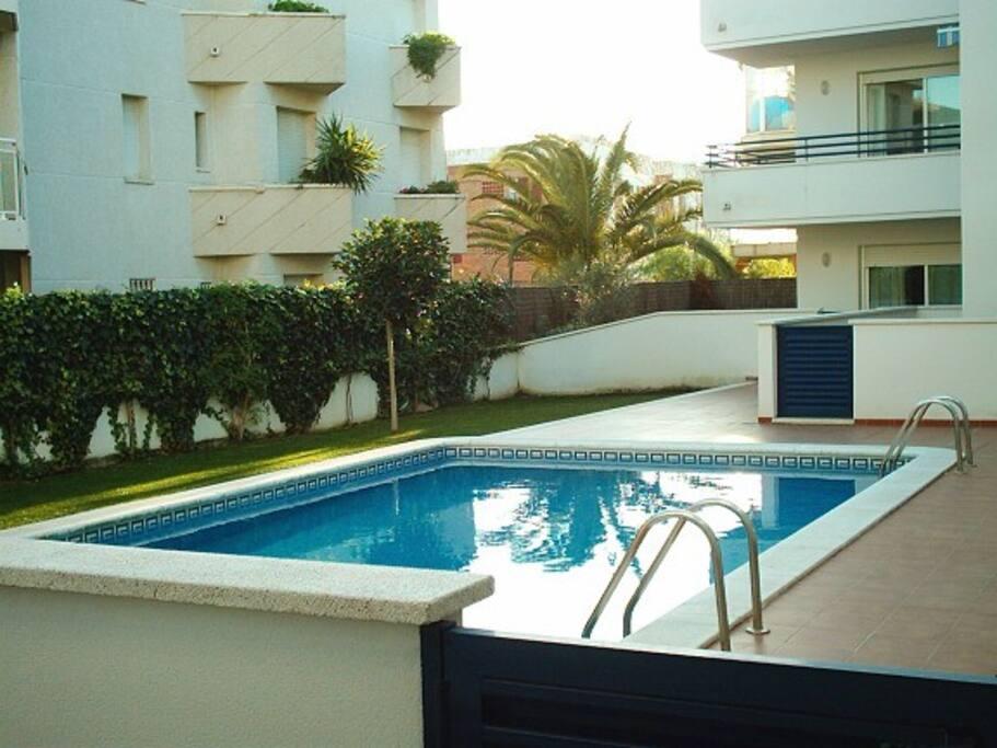 Vista de la piscina desde la terraza