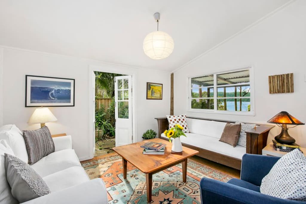 French doors to sandstone terrace; fabulous Pittwater views from the lounge