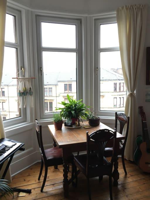 Dining room table, overlooking the kelvingrove art gallery