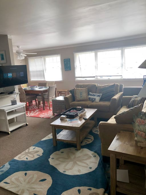 Bright Spacious Living Area with Flat Screen TV. Free Netflix!
