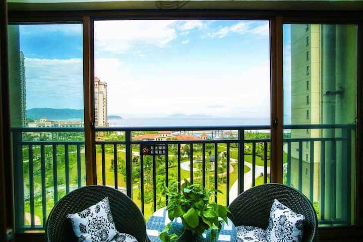 碧海金沙-阳台看沙滩大海的地中海风情民宿