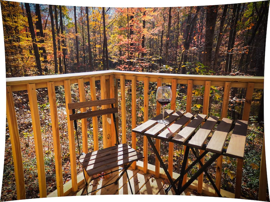 Enjoy local wine on the porch. Our favorite time at the tiny house is fall and winter. It's so quiet.