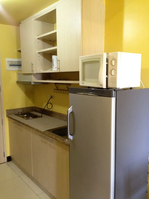 Granite kitchen top with electric stoves and exhaust