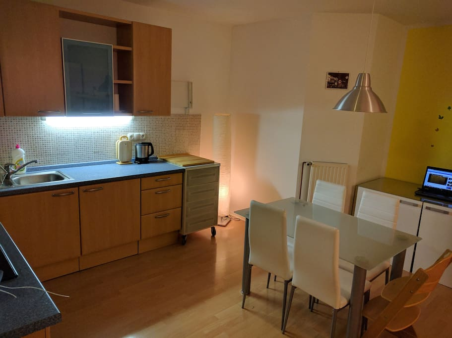 Kitchen and dining with working table