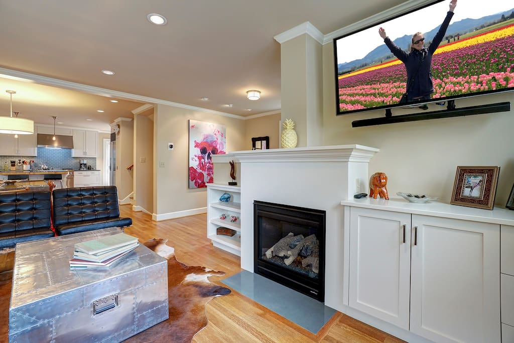Main Floor - Sitting, TV, and Gas Fireplace