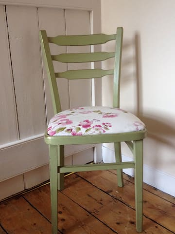 Lovingly restored olive coloured  traditional Irish chair